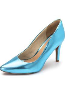 Sapato Scarpin Salto Alto Fino Em Azul Serenity Metalizado - Kanui