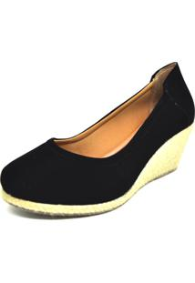 Sapato Dani K Anabela Preto Salto Corda