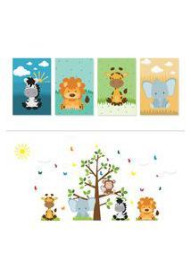 Adesivo De Parede Arvore Safari E Placas Decorativas Quartinhos