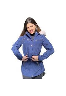 Jaqueta Para Inverno Parka Sherpa Forrada Com Capuz Removível Azul