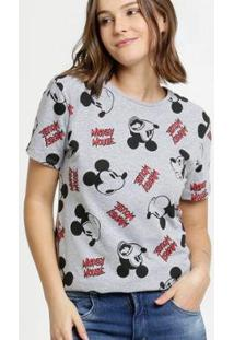 Blusa Feminina Estampa Mickey Manga Curta Disney - Feminino-Cinza
