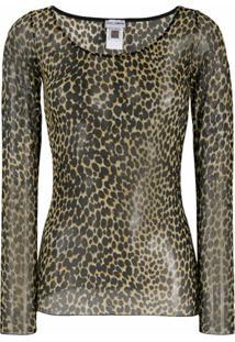 Dolce & Gabbana Blusa Translúcida Com Estampa De Leopardo - Amarelo
