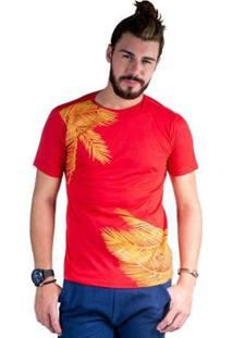 Camiseta Mister Fish Estampado Palmeiras Masculina - Masculino-Vermelho
