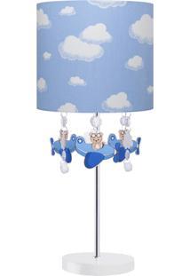 Abajur Carambola Ursinho Aviador Azul E Branco Carambola