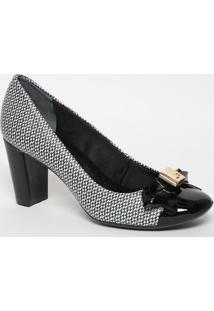Sapato Em Couro Com Laço - Preto & Branco- Salto: 7Cjorge Bischoff
