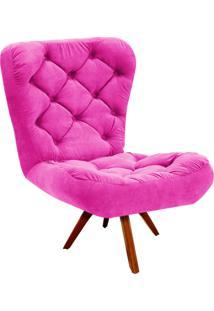 Poltrona Decorativa Botonê Iris Suede Pink Com Base Giratória Madeira - D'Rossi