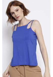 Blusa Lisa Com Alã§As - Azul Escuro - Malweemalwee