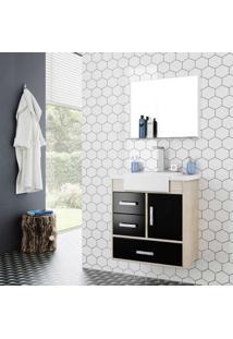 Gabinete Para Banheiro Alhena 63,5X40X57,5Cm Com Lavatório E Espelheira Preto Cerocha