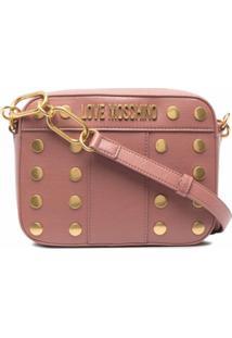 Love Moschino Bolsa Granulada Com Logo De Placa - Rosa