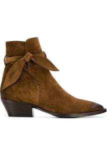Saint Laurent Ankle Boot Com Laço - Marrom