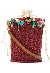 Serpui Bolsa Saco Com Pedrarias - Vermelho