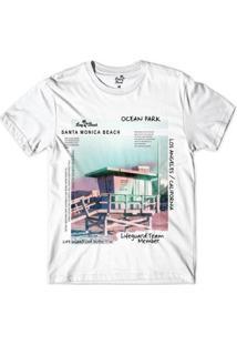 Camiseta Long Beach Coleção Praias Santa Monica Ocean Park Sublimada Masculina - Masculino-Branco