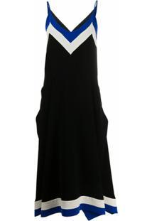 Mulberry Slip Dress Com Listras Na Lateral - Preto