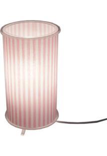 Abajur Crie Casa Cilíndrico Estampado Rosa/Branco