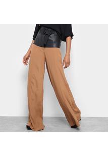 Calça Open Pantalona Pala Couro Feminina - Feminino-Cobre