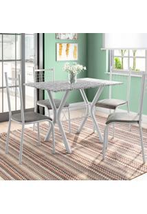 Conjunto De Mesa Miame Com 4 Cadeiras Lisboa Branco Prata E Vegetale