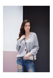 Suéter De Lã Vallery Com Gola V Feminino - Cinza