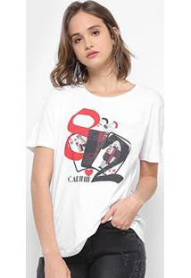 Camiseta Carmim Copas Feminina - Feminino-Branco