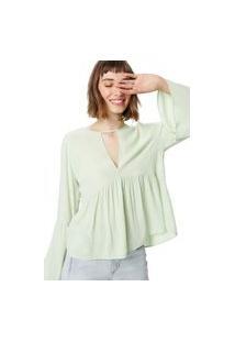 Blusa Bata Recortes M/L Verde Menta - 34