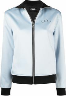 Karl Lagerfeld Jaqueta Com Zíper E Placa De Logo - Azul