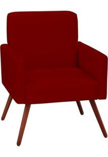 Poltrona Decorativa Mari Pés Palito Vermelha Condor Decor