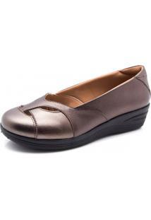Sapato Couro Doctor Shoes 194 Anabela Recortes Bronze