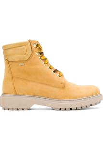 Geox Ankle Boot De Couro Com Cadarço - Amarelo
