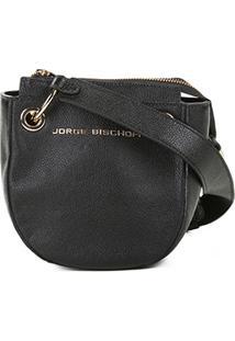 Bolsa Couro Jorge Bischoff Mini Bag Transversal Argolas Feminina - Feminino-Preto
