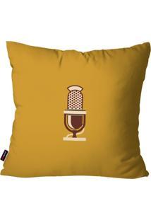 Capa De Almofada Pump Up Decorativa Avulsa Ocre Retrô Microfone 45X45Cm