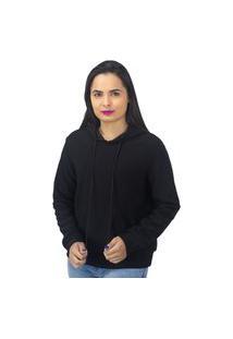Blusa Moletom Lisa Com Capuz E Bolso Facinelli Preta