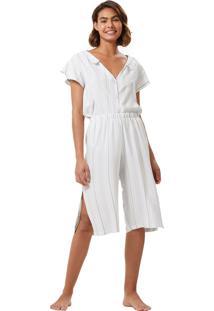 Pijama Corpo E Arte Chantilly Off White/Azul/Verde