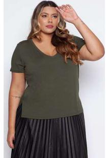 Blusa Almaria Plus Size Pianeta Básica Verde Militar Verde