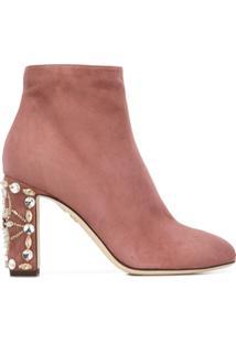 Dolce & Gabbana Ankle Boot De Camurça Com Aplicações - Rosa
