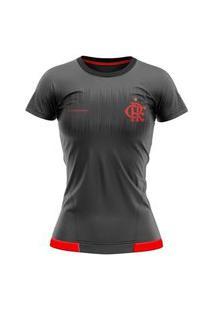Camiseta Flamengo Braziline Contact Feminina - Chumbo