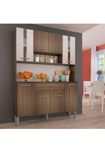 Cozinha Anie 0281 8 Portas C/ Tampo – Genialflex - Castanho / Mel
