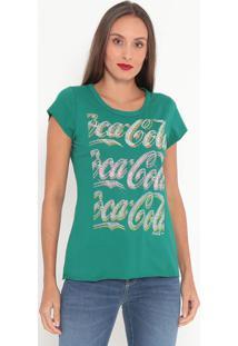"""Camiseta """"Coca-Cola""""®- Verde & Branca- Coca-Colacoca-Cola"""