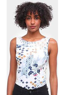 Body Lez A Lez Malha Cotton Estampado Feminino - Feminino-Azul Claro+Branco