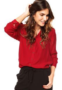 Camisa Shoulder Ilhos Vermelha