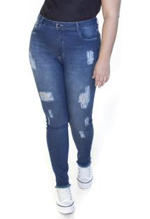 Calça Jeans Ecolife Plus Size Destroyed Azul
