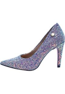 Scarpin Week Shoes Salto Alto Gliter Lilás
