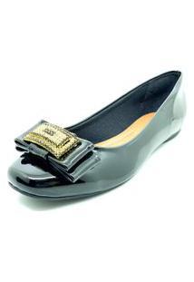 Sapatos Sapatilha Bico Quadrado Pedra Dani K Preto