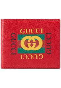 Gucci Carteira De Couro Com Estampa 'Gucci' - Vermelho