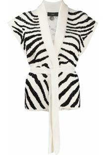 Alanui Colete De Tricô Com Bordado De Zebra - Branco