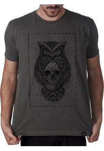 Camiseta Artseries Coruja Caveira Dead Owl Cinza