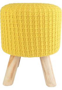 Puff Madeira Algodao Poliester Crochet 4 Feet Amarelo 30 X 38 X 30 Cm Urban - Amarelo - Dafiti