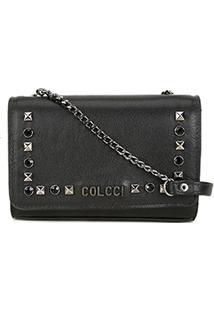 9efb5eaeb ... Bolsa Couro Colcci Mini Bag Com Rebites Feminina - Feminino-Preto
