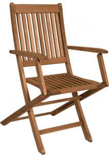 Cadeira De Madeira Maciça Dobrável Com Braços Ipanema Mestra Nogueira