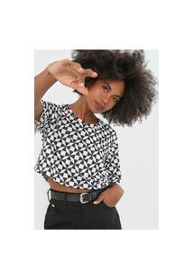 Camiseta Cropped Lança Perfume Geométrica Branca/Preto