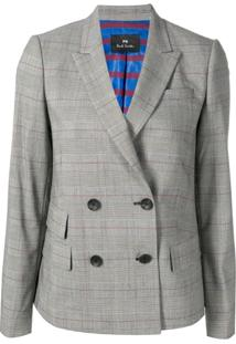 Ps Paul Smith Double Breasted Check Blazer - Cinza
