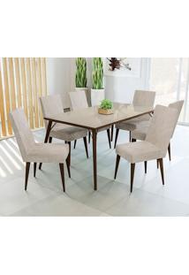 Conjunto De Mesa E 6 Cadeiras D002 - Kappesberg - Walnut / Bege
